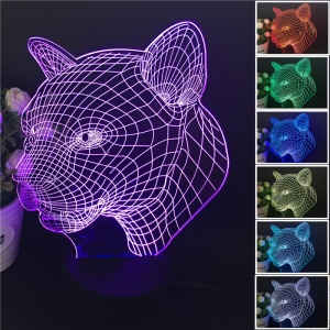 Leopard Head 3D Optical Illusion LED Night Light Touch Control 7 Color Change