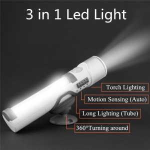 3 in 1 Battery Operated LED Torch, Night and Wall Light with PIR Sensor and Light Sensor