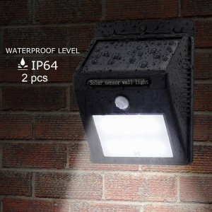 2 PCS Solar Powered 12-LED Outdoor Wall Light PIR Motion Detection Sensor Waterproof Lamp