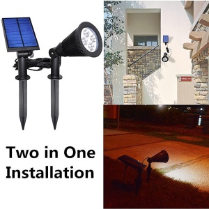 Solar Powered Rotatable Garden Lawn Waterproof Light Light-Sensing Security Lamp 2 in 1 Installation