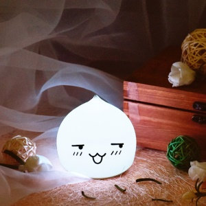 7-Color LED Mood Night Light Silicone Tap Control Beside Table Lamp - Laugh Icon