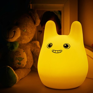Cute Rabbit Silicone LED Mood Night Light 7-Color Changing USB Beside Lamp