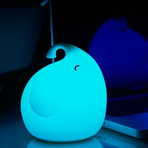 Cute Elephant Silicone LED Night Light 7-Color Rechargeable Beside Mood Lamp