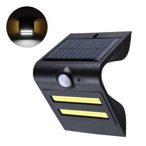 2Pcs/Set Solar Wall Lights Outdoor Motion Sensor Light-controlled Lamp IP65 Waterproof - Black
