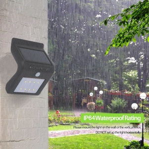 8 LED Solar Energy Light Sensor and PIR Sensor Light Outdoor Waterproof LED Wall Light - Black