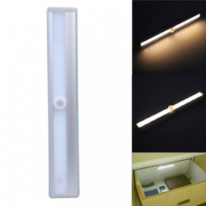 10 LEDs PIR Motion Sensor Cabinet Light Battery Powered Night Light - White / White Light