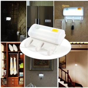Magnetic Suction Human Body Infrared Sensor Light + Wall Mount Hook 2-in-1 Design - White Light