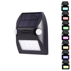 YL002-2A Solar Wall Light with Dual PIR Motion Sensors with 5 Lighting Modes and RGB Color Changing - Black