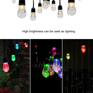 YL003-1A 12 Bulbs Outdoor Solar String Lights and 4.5M Extension Cord IP65 Waterproof String Lights
