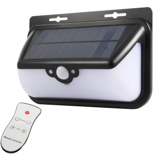 68-LED Outdoor Waterproof Solar Energy Powered Motion Sensor Light Wall Lamp with Remote Controller - Black