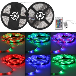 YK0421 IP65 Waterproof DC12V 10m Soft RGB LED Strip Light with IR Remote for Home Decoration