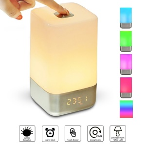 MY-03 Dimmable LED Night Light Touch Control Bedside Lamp with Alarm Clock