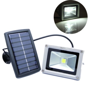 10W Solar Powered Waterproof Outdoor LED Flood Light - Cool White