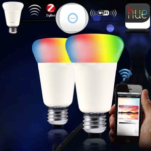 ZIGBEE E27 9W 31-3528SMD RGBW Dimmable Light Smart Bulb Mobile App Remote Control