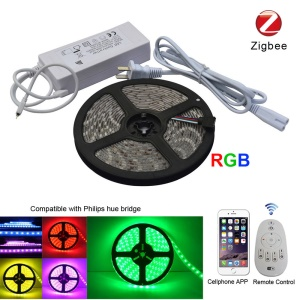 ZIGBEE RGB 5050 SMD 5m LED Light Strip Smart App Control Flexible RGB Strip Lights - US bouchon