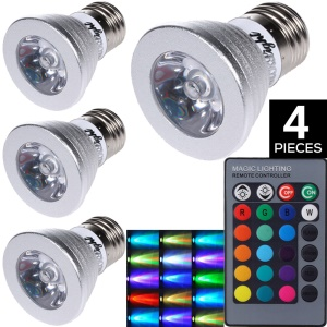 4Pcs/Set YOUOKLIGHT YK4205 GU10 3W 1-LED Bulbs Remote Control Lamp Dimmable RGB Lights