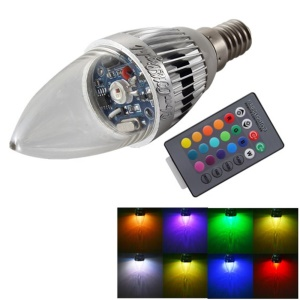 YouOKLight YK0322 E14 3W RGB Light Remote Control Candle Bulb - Silver
