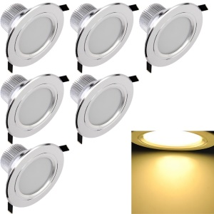 6 Pcs YK4412 7.5W Warm White Ceiling Light Lamp - Silver Color / Warm White