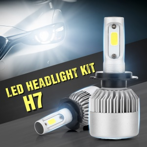 1 Pair S2H7 LED Headlight Kit 6000K 60W/6000LM H7 Light Bulbs 360° Beam Angle