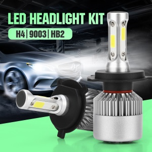 1 Pair S2H4 LED Headlight H4/HB2/9003 6000K 72W/7200LM Bulbs 360° Beam Angle