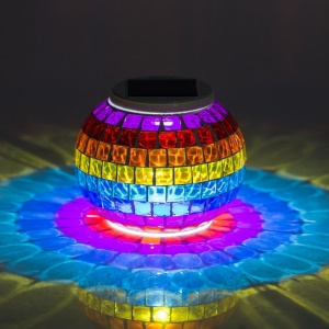 YY-801 Mosaic Glass Solar Powered Table Light Color Changing LED Ball Light Decorative Light - Multi-color