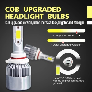 One Pair 9006/HB4 C9 72W 7200LM 6000K Cool White LED Car Headlight