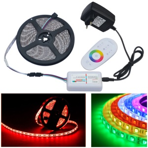JIAWEN 5M 300 x 5050 SMD RGB LED Flexible Strip Light with 2.4G RF Remote Controller - EU Plug