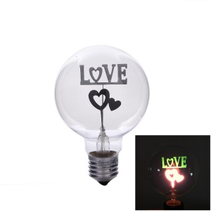 YK0840 E27 3W LOVE and Heart Warm White Neon Colorful Light 220V