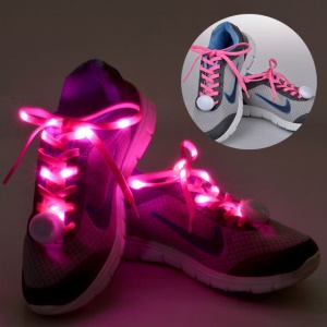 1 Pair LED Flashing Light Luminous Shoelaces for Party Hip-hop Dancing - Pink