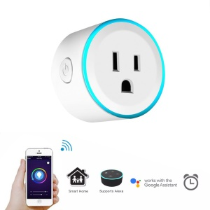 Colorful LED Lights WiFi Smart Socket Remote Control for Android iOS Smartphone - US Plug