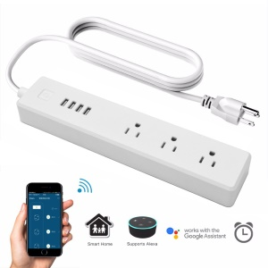 Smart Home Power Electrical Socket 3 Ports 4 USB Outlet Plug WiFi APP Wireless Remote Control for Android iOS Smartphone - US Plug