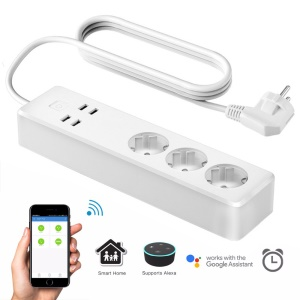 Smart Home WiFi 4 USB Ports Extension Socket for Android iOS Smartphone - EU Plug