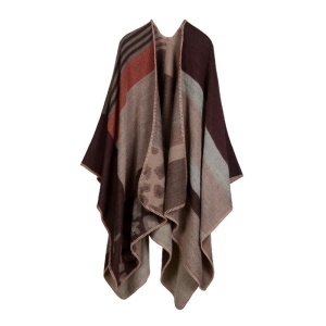 Women Open front Warm Blanket Poncho Cape - Leopard / Coffee