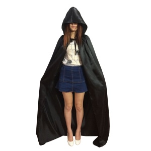 Hooded Cloak Adult Cosplay Cape for Halloween (M Size) - Black
