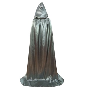 Luxury Halloween Witch Cloak Hooded Cape Adult Role Play Costume, Size: L - Grey