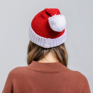 Unisex Christmas Winter Knitted Crochet Beanie Santa Hat Christmas Santa Claus Wool Hat - Red