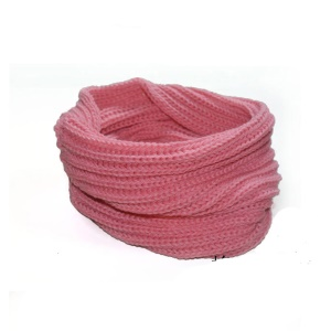 Unisex Winter Warm O Ring Knitted Neckerchief Knit Scarf - Rose