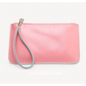 Crazy Horse Skin Oil Buffed Leather Handbag Purse - Pink