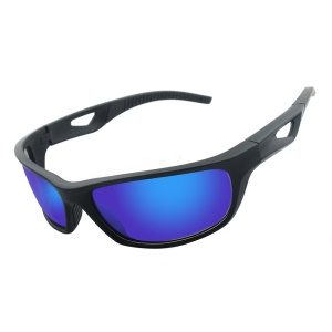 Cool Sports Polarized Sunglasses 100% UV Protection Unbreakable Sports Glasses for Men or Women - Black / Blue