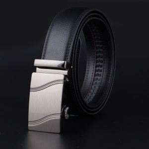 3.5cm Width Genuine Split Leather Belt Litchi Texture Automatic Buckle Belt for Men - 130cm / Wavy Lines Style Buckle