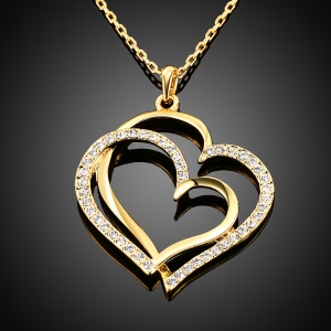 Women Necklace with Rhinestone Heart Pendant - Gold Plated