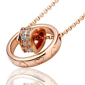 Diamond Heart Shape Round Pendant Charm Necklace - Rose Gold Plated