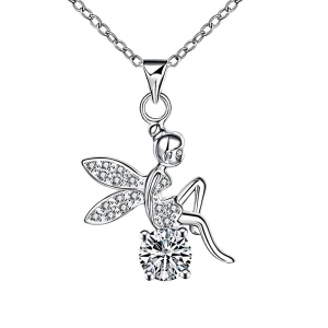 Trendy Lovely Angel Zircon Pendant Silver Plated Necklace for Women