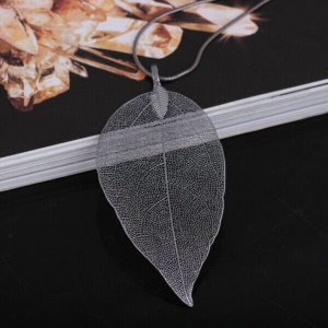 Women's Plated Leaf Pendant Sweater Chain Long Necklace Fashion Jewelry - Grey