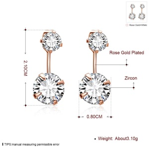 E007-B Elegant Dual Round Zircons Drop Earrings Jewelry for Women - Rose Gold