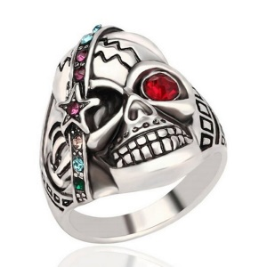 Retro Cool Skull Couple Style Punk Ring with Red Resin White Crystal Stone Decor - Size: 10