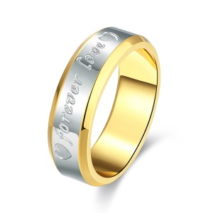 Forever Love Two-color Men Classical Steel Ring - Size: 7