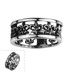 Hollow Flowers Classical Titanium Steel Ring - Size: 8
