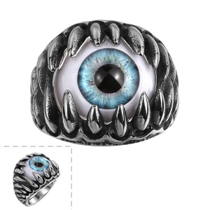 Exaggerated Eyeball Cool Titanium Steel Ring - Size: 8