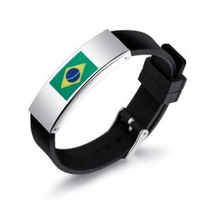 Silicone + Steel Country Flag Men Wristband World Cup Accessories - Brazilian Flag